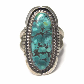 Vintage Navajo Blue Creek Turquoise Ring Size 8 Evelyn Spencer