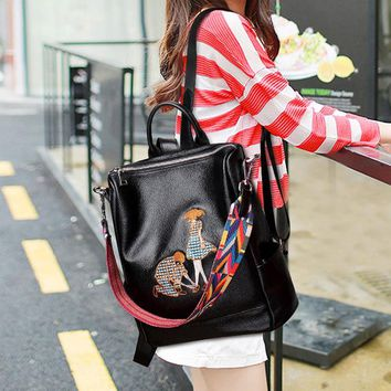 Student Backpack Children Fashion Woman Genuine Leather Student Backpack Beach Soft Cow Leather Zipper Solid Color Double Shoulder Bag Friend Gift AT_49_3