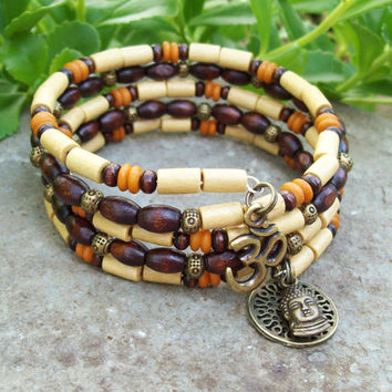 Memory Wire Stack Bracelet with Om and Buddha Charms - Bone and Wood