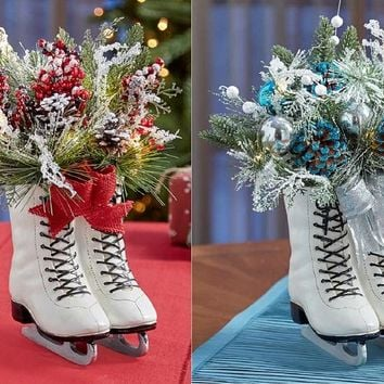 Vintage Look LED Lighted Ice Skates Floral Decor Centerpiece Mantle Christmas