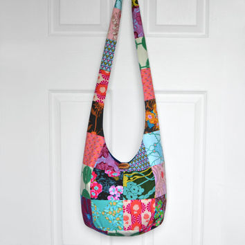 Hobo Bag Crossbody Bag Sling Bag Hippie Purse Boho Bag Bohemian Purse Patchwork Hobo Bag Fabric Purse Hippie Bag Hobo Purse Handmade Bag
