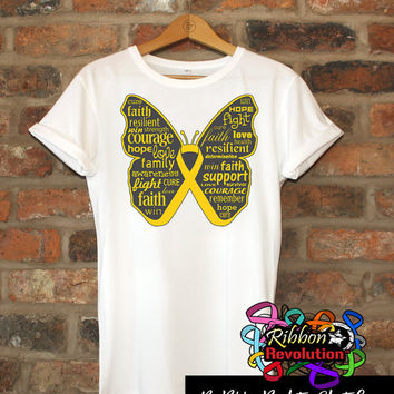 Inspiring Childhood Cancer Butterfly Awareness Ribbon Shirts