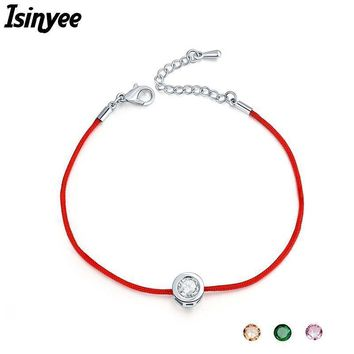 ISINYEE Fashion Red String Rope Bracelet Small Cublic Zirconia CZ Bracelets For Women Handmade Crystal Jewelry Lovers Couples