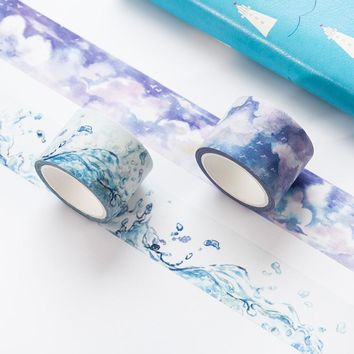 Creative Watercolor Music Note Cloud Japanese Masking Washi Tape Decorative Adhesive Tape Diy Scrapbooking School Office Supply