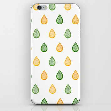 Yellow and green raindrops iPhone & iPod Skin by Savousepate