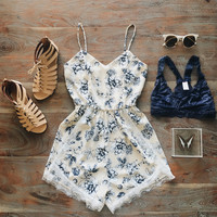 A Granny's Table Romper in Oatmeal