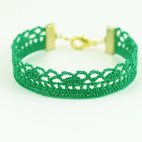 Green Victorian Bracelet - Crochet Lace - Bridesmaid Jewelry – For Her - Shamrock - St Patricks Day - Fiber Art Jewelry - Lightweight