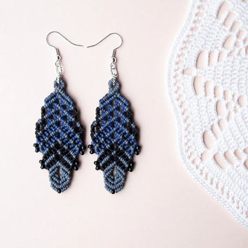 Micro macrame earrings - Gray Blue Black Unique