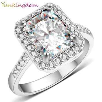 Classic Square Cubic zirconia Crystal Rings for Women