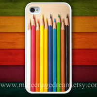 iphone 4 case, iPhone 4s Case, iphone case 4s, Colorful Pencils Set white iPhone Hard Case