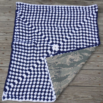 Crochet US Air Force baby blanket, granny square reversible crochet baby blanket