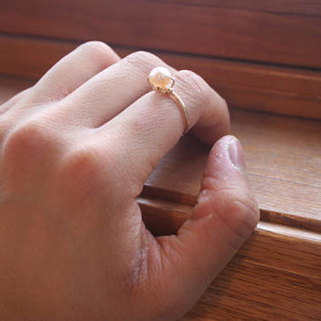 Champagne Freshwater Pearl Gold Colour Wire Tarnish Proof Ring, Pearl Ring, Gold Ring