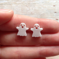 Ghost Earrings Halloween Earrings Ghost Studs Laser Cut Acrylic Earrings