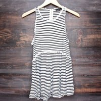 stripe high-low racer back boho tank