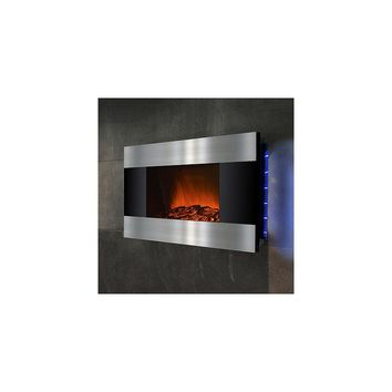 GoldenVantage 36'' Wall Mount Stainless Steel and Black Electric Fireplace
