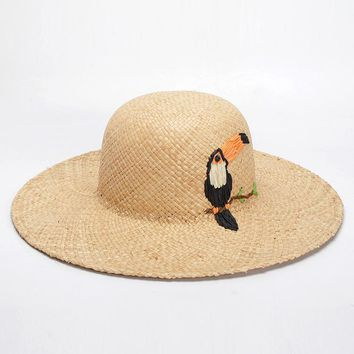 *Online Exclusive* Embroidered Bird Straw Hat