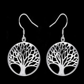 STYLEDOME Round Hollow Wishing Tree Pendant Tree of Life Necklace