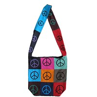 Cotton Bohemian Sling Hippie Peace Sign Hobo Bag Shopping Tote Work Bag