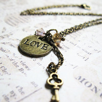 Love Necklace - Love Pendant - Dangle Necklace With Glass Beads - Short Brass Necklace