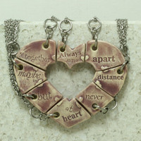 Friendship jewelry Heart puzzle pendants set of 8 Always together quote Purple