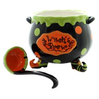 Tabletop WITCH'S BREW SOUP TUREEN Ceramic Witch Feet Hand Wash 9728303