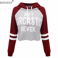 Rogesi 2016 New Casual Women T Shirts Hooded Long Sleeve