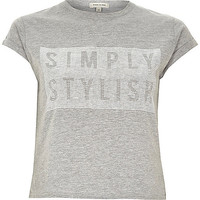River Island Womens Grey simply stylish fitted crop top