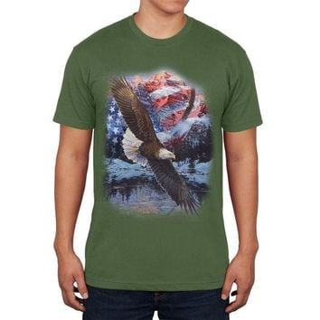 CREYCY8 4th of July American Flag Bald Eagle Mens T Shirt