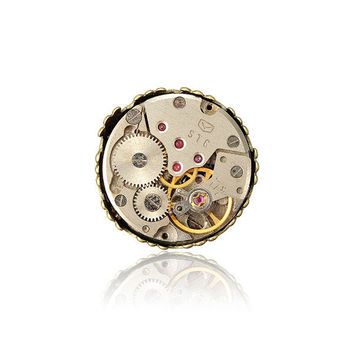 Punk Steam Mechanical Watch Movement Ring