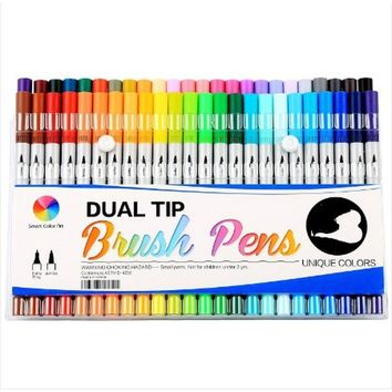 60 Colors Dual Tip Brush Pens Art Markers Fine liners & Brush Tip Highlighters Pens Set with Round Case for Adult Coloring Books