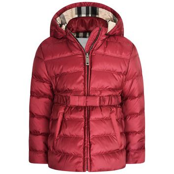 Burberry Baby Girls Burgundy Down Padded Coat With Fur Trim Hood