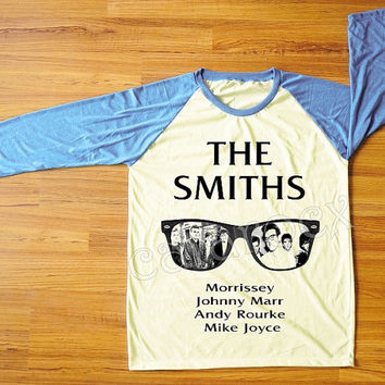 The Smiths Morrissey UK 80s Alternative Pop Rock Shirt Blue Sleeve Shirt Women T-Shirt Men T-Shirt Unisex T-Shirt Baseball Tee Shirt S,M,L