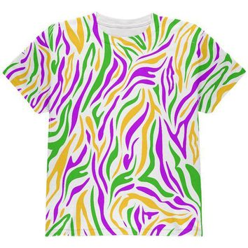 ONETOW Mardi Gras Zebra Stripes Costume All Over Youth T Shirt