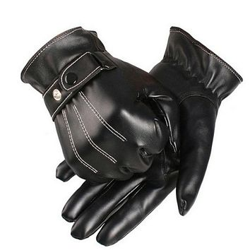 Free Ostrich Gloves Men Winter Luxurious PU Leather Driving Men's Genuine Leather Black Gloves Button Warm Mittens CJ15