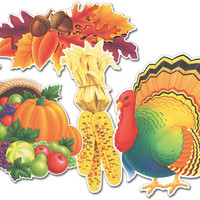 Assorted Thanksgiving Cutouts Printed on 2 Sides - 12 Pack Case Pack 12