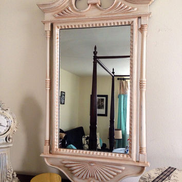 Vintage Wall Mirror Hand Painted distressed and Glazed