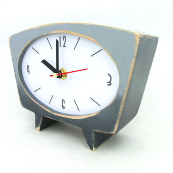 Desk Clock Grey Ombre / shaded - vintage 60s style
