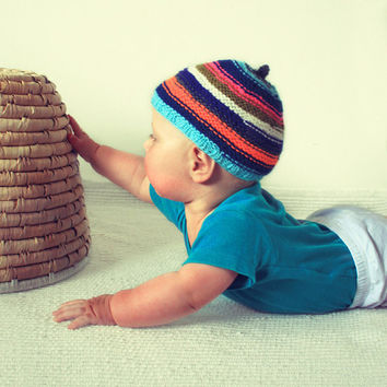 Knitted striped baby hat girl