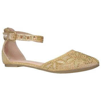 Womens Ballet Flats Ankle Strap Rhinestone Studs Jewel Flat Shoes Gold