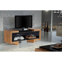 Furnitech FT57FA Signature Contemporary 55-Inch High Gloss Black Lacquer TV Stand Media Console for Flat Screen and Audio Video Installations with Oak End Caps