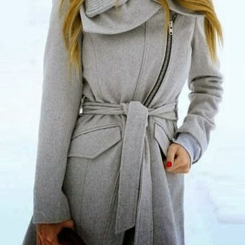 Turn-Down Collar Long Sleeve Zip Up Coat with Belt