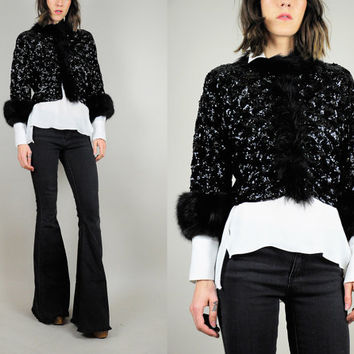 Sequined vtg 60's FOX FUR cuff Cropped jacket black Marabou FEATHER Cocktail party Small