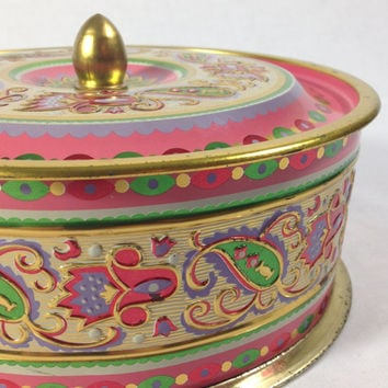 Pink Paisley Round Floral Storage Tin Pastel Bohemian Design Gold Trim Finial Lid Eclectic Keepsake Gift Box Mandala Print Craft Supply Box