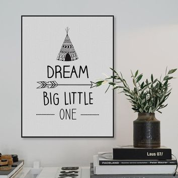 Modern Black Dream Big Motivational Quotes A4 Art Print Poster Wall Picture Nordic Baby Kids Room Decor Canvas Painting No Frame
