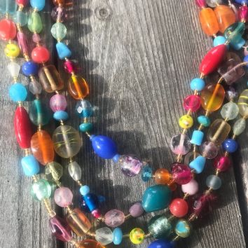A Pretty Vintage Fancy Art Glass Rainbow Muilticolor 4 Strand Beaded Choker Necklace