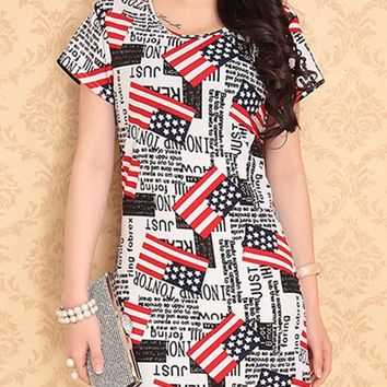 American Flag Print Mini Dress