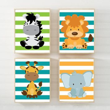 BABY Jungle Safari ANIMALS Wall Art, Baby Boy Nursery Decor, Jungle Safari Animal Theme Canvas or Print Set of 4 Zebra Lion Giraffe Elephant