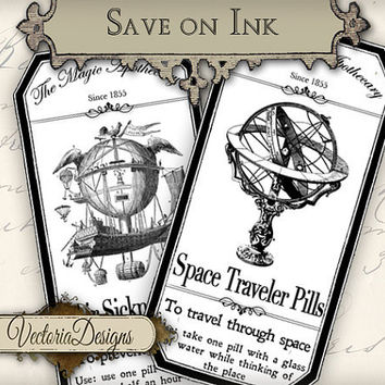 INSTANT DOWNLOAD Steampunk Apothecary Bottle Labels Tags economic instant download printable images digital collage sheet 267