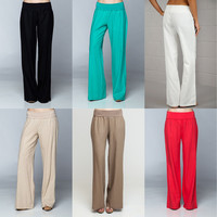 Casual & Career Banded High Waist Fold Over Palazzo Wide Leg Linen Pant Trouser