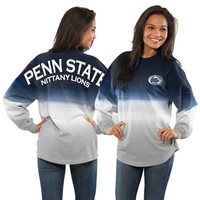 Women's Navy Penn State Nittany Lions Ombre Long Sleeve Dip-Dyed Spirit Jersey